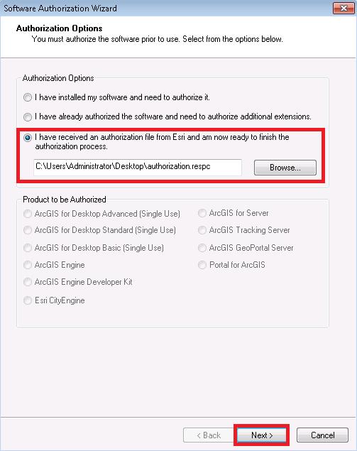 ArcGIS for Desktop Single Use, Offline Authorization