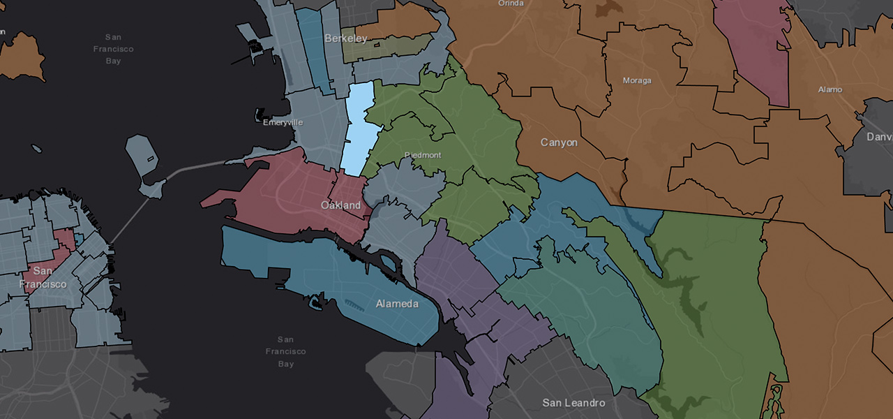 Multiple coloured polygons across the San Franisco area