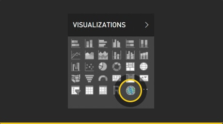 Get started by looking for the ArcGIS Maps for Power BI Icon