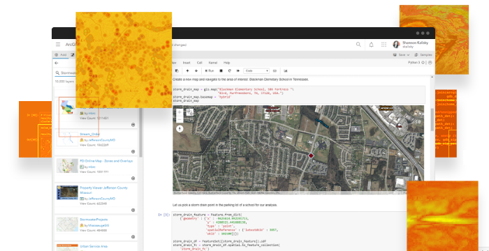 Python code shown in ArcGIS notebook in a map