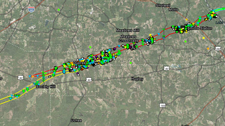 Map of Oklahoma showing damage path from tornado