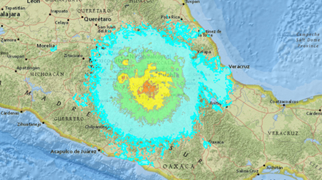 Map of the area around Puebla, Mexico showing different colours to represent the earthquake's impact