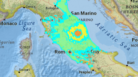 Map of the area around Visso, Italy showing different colours to represent the earthquake's impact
