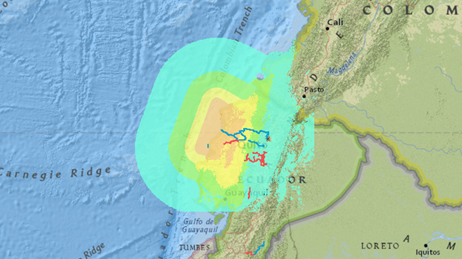 Map of the earthquake off the coast of Muisne, Ecuador using different colours to represent the impact