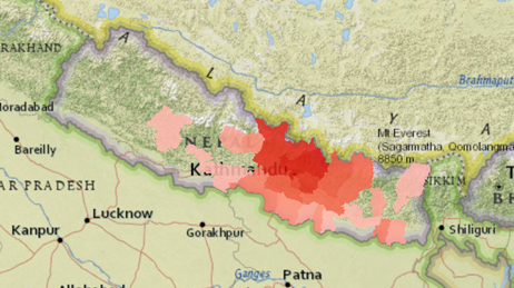 Map showing an area of Nepal with red areas showing where injuries and fatalities occured
