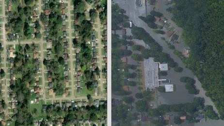 Aerial photo divided into two halves showing an area in Louisiana before and after a flood
