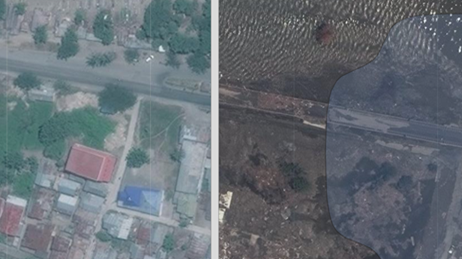 Aerial photo divided into two halves showing an area in Palu Indonesia before and after an earthquake and tsunami