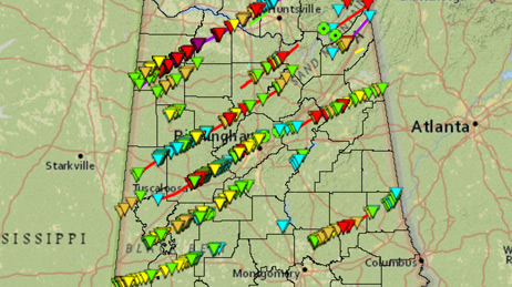Map showing tornado paths over Alabama