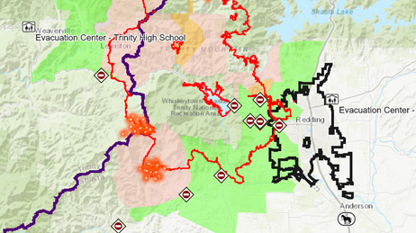 Map of the Carr Fire near Redding California showing the boundary of the fire
