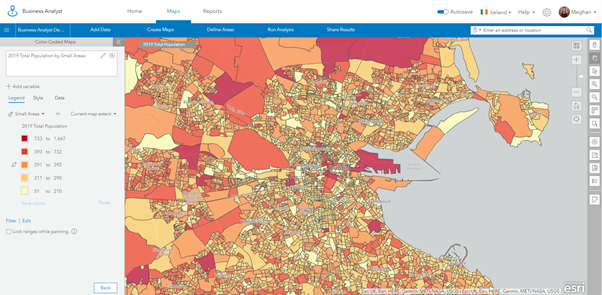 Screenshot of a colour-coded map in Business Analyst Web App