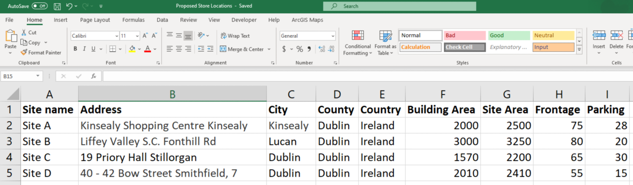Screenshot of the example excel spreadsheet