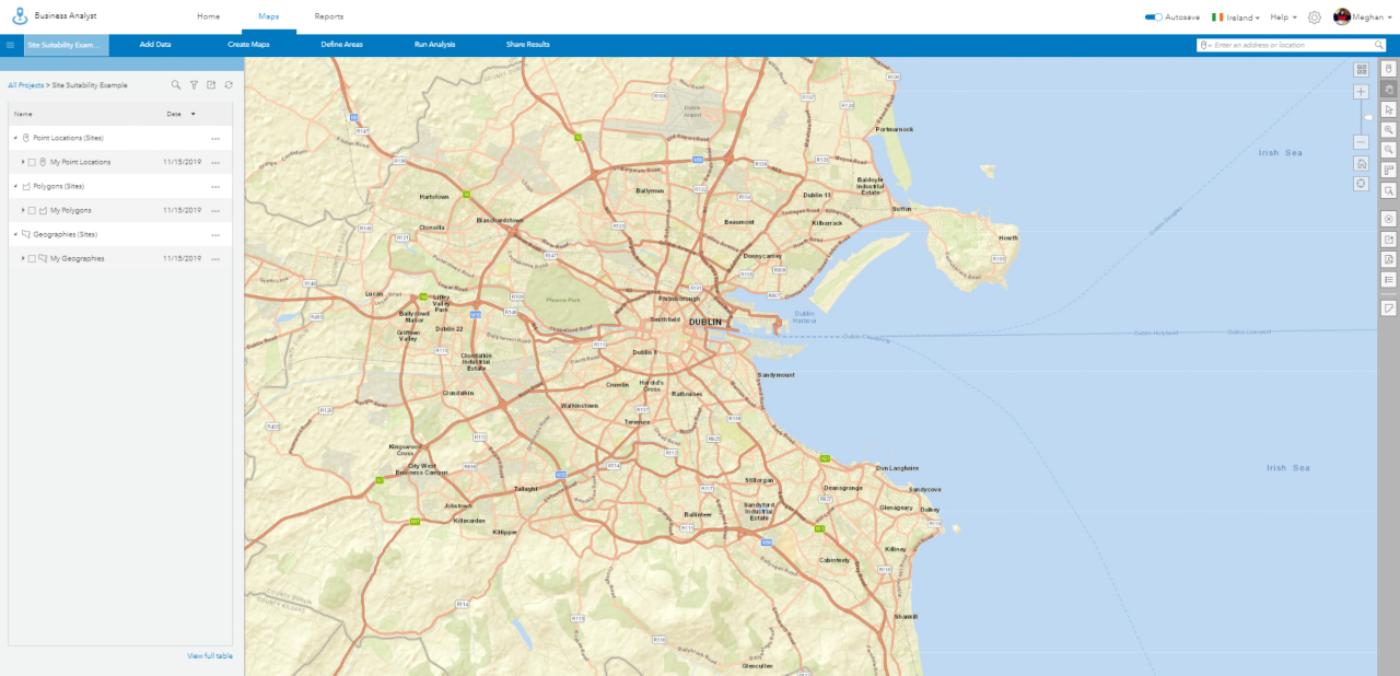 Image showing ArcGIS Business Analyst web app interface