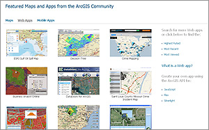 Web apps gallery features apps built with Web mapping APIs.
