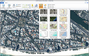 Access ready-to-use basemaps through the ArcGIS Explorer Online basemap gallery.