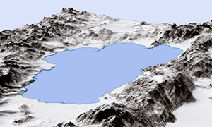 Lake Tahoe 3D Hillshade and Bathymetry